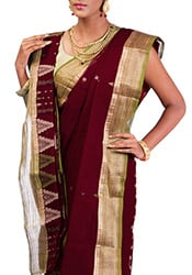 Red Bengal Cotton Jacquard Saree