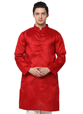 Red Blended Cotton ethnic kurta from Home India
