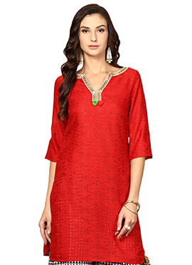 Red Blended Cotton Ethnic Kurti from Home India