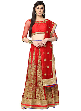 Red Blended Cotton Lehenga choli set From Home Ind