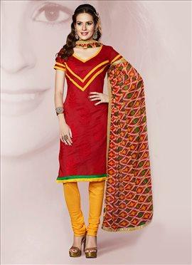 Red Chanderi Churidar Suit