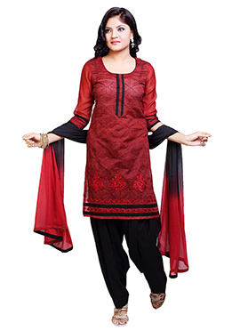Red Chanderi Patiala Suit