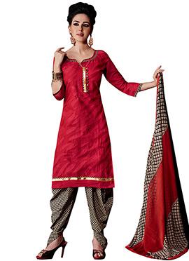 Red Chanderi Patiala Suit