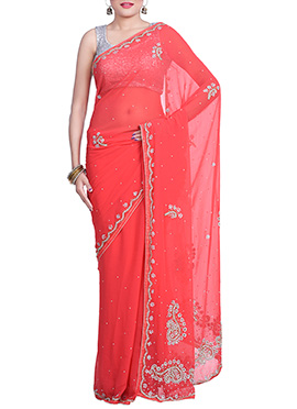 Coral Red Chiffon Hand Embroidered Saree