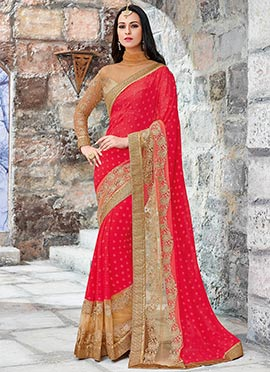 Red Chiffon N Net Embroidered Saree