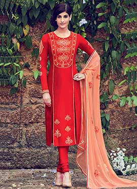 Red Cotton Straight Suit