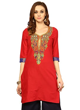 Red Cotton Ethnic Kurti from Home India