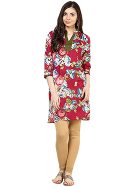 Red Cotton Floral Patterned Kurti
