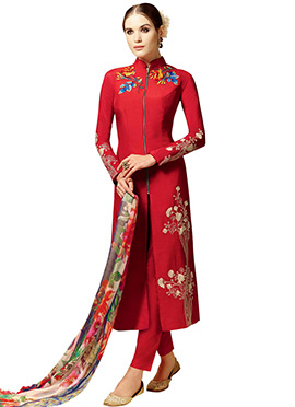 Red Cotton Satin Straight Pant Suit