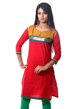 Red Cotton Shirt Kurti