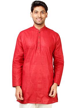 Red Cotton Short Kurta
