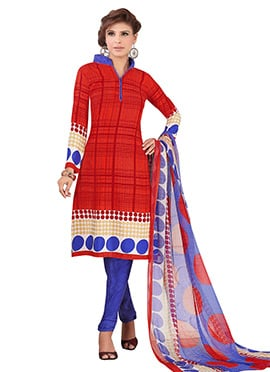Red Crepe Churidar Suit