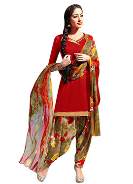 Red Crepe Patiala Suit