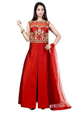 Red Dupion Silk Anarkali Suit