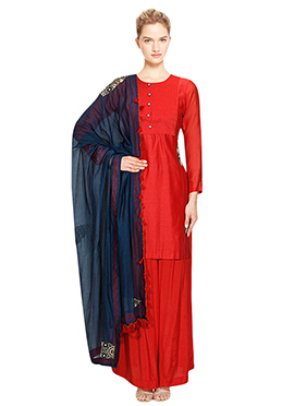 Red Dupion Silk Palazzo Suit