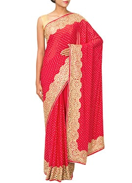 Red Embellished Crepe Cut Work Border Saree