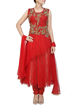 Red Embellished Layered Anarkali Suit