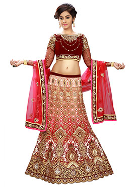 Red Embroidered A Line Lehenga Choli