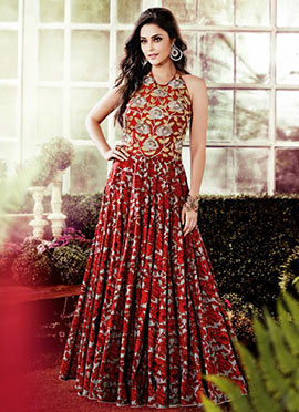 Red Embroidered Anarkali Gown