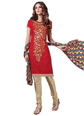 Red Embroidered Chanderi Cotton Churidar Suit