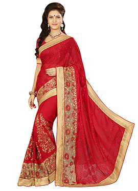 Red Embroidered Half N Half Saree