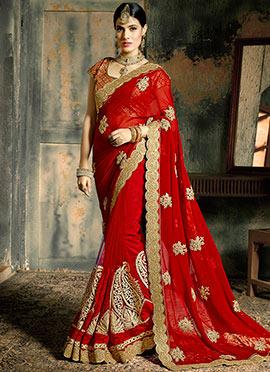 Red Embroidered Half N Half Saree