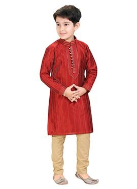 Red Embroidered Kids Kurta Pyjama