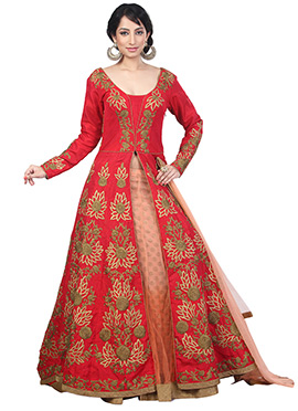 Red Embroidered Long Choli Lehenga