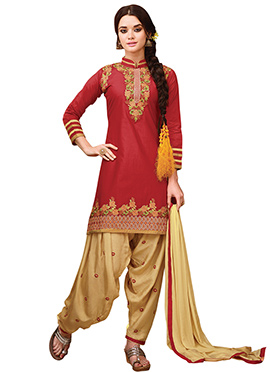 Red Embroidered Patiala Suit
