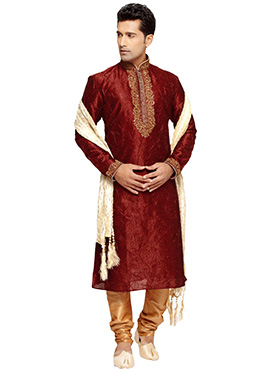 Red Embroidered Prem Ratan Plus Size Kurta Pyjama