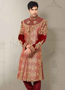 Red Embroidered Sherwani