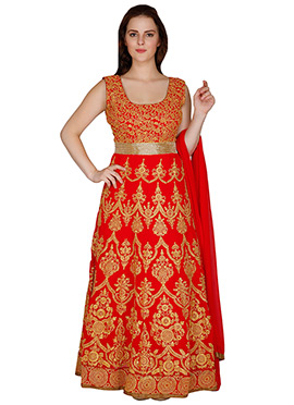 Red Famous By Payal Kapoor Ankle Length Anarkali Suit