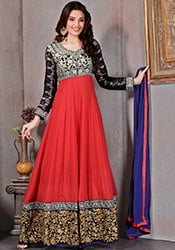 Red Georgette Ankle Length Anarkali Suit