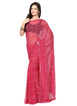 Red Georgette Bandhini Printed Saree