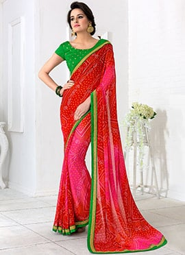 Red Georgette Bandhini Saree