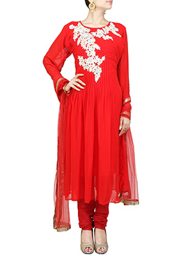 Red Georgette Embroidered Anarkali