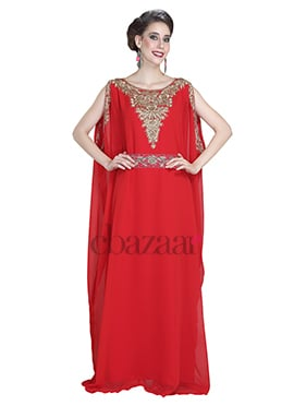 Red Georgette Embroidered Fustan Dress