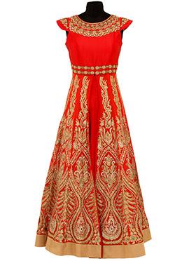 Red Georgette Embroidered Long Choli Lehenga