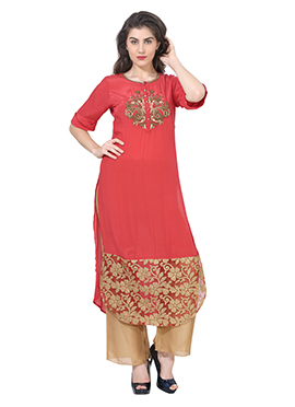 Red Georgette Embroidered Long Kurti