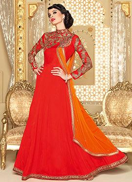 Red Georgette Floor Length Anarkali Suit