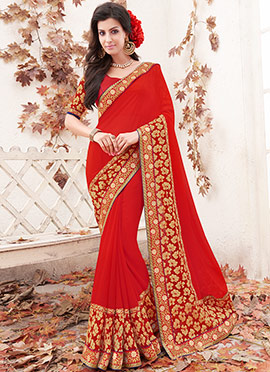 Red Georgette Floral Border Saree