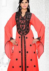 Red Georgette Plus Size Fustan Dress