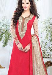Red Handloom Fabric Churidar