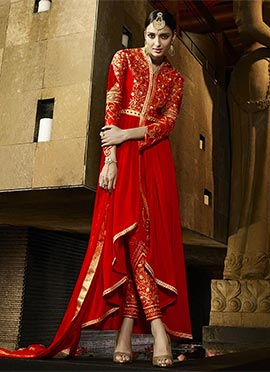 Red Indowestern Straight Pant Suit