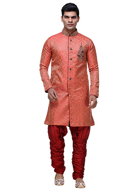 Red Jacquard Breeches Style Sherwani