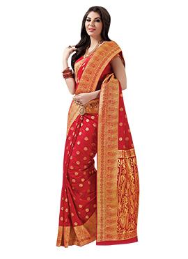 Red Jacquard Saree