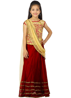 Red K And U Net Lehenga Choli