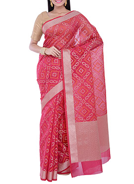 Red Kora Silk Bandhini Saree