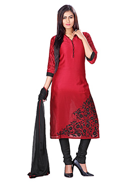 Red Kora Silk Ombre Churidar Suit