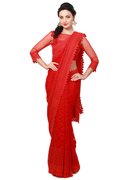 Red Lace Ks Couture Saree